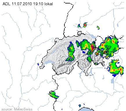 Radarbild vom 11.7.2010 um 19:10