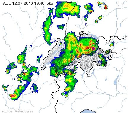 Radarbild vom 12.7.2010 um 19:40