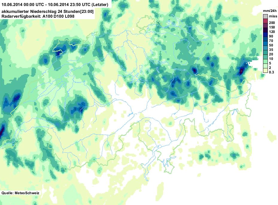 Regenmengen vom 10. Juni 2014